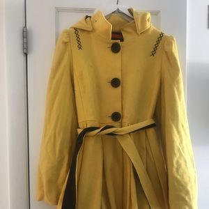 Adorable wool coat with hood and beautiful lining.